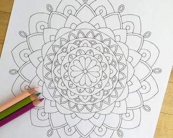 "Mandala ""Enlighten"" - Hand Drawn Adult Coloring Page Print"