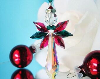 Swarovski Crystal Christmas Ornament  Angel Rear View Mirror Car Accessories Christmas Gift