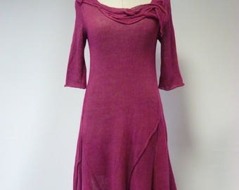 The hot price. Handmade fuchsia linen dress, S/M size.