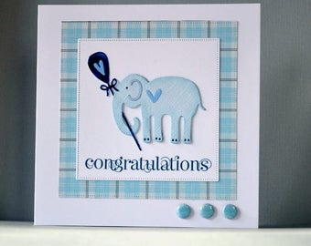 new baby card, boy baby card, baby boy card, elephant baby card,new baby card, handmade new baby card, congratulations new baby card,