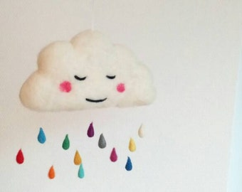 Head in the clouds - Needle felted rainy cloud mobilé