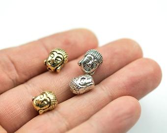 Wholesale! 10 or 50 pcs Buddha Head 8*11mm Bead Pewter