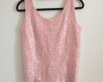 Cotton Candy Pink Sequin and Beaded Top