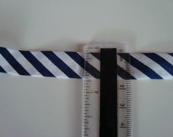 3 m bias folded cotton ready to use 15 mm wide Navy Blue and white