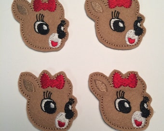 Reindeer Girl Red Bow Christmas Embroidered Felt Applique