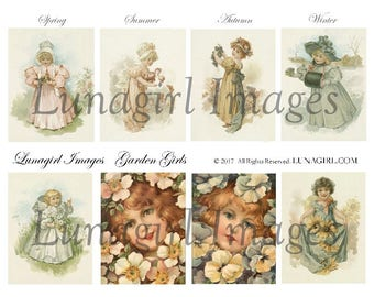 GARDEN GIRLS digital collage sheet, Victorian children flowers, vintage images, antique postcards ephemera seasons, shabby chic art DOWNLOAD