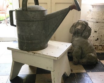 HUGE antique zinc watering can garden gift cottage farmhouse