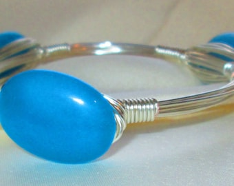Morning Dew,  glass wire-wrapped bangle, bracelet,