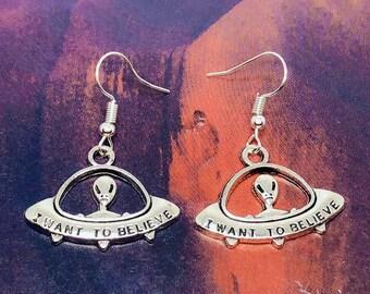 I Want To Believe Alien Silver Earrings -- Beep Beep!!