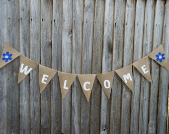 Welcome Banner Welcome Bunting Wedding Banner Welcome Sign Burlap Banner Birthday Welcome Banner Party Welcome Banner Wedding Decor