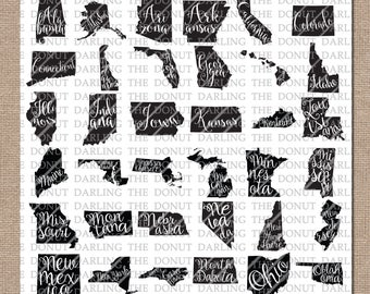 92% OFF! United States Bundle svg / dxf / png Silhouette, Cricut, States SVG, Lettered State, Beautiful State, Home State Silhouette Outline