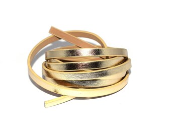 50 cm, 1 or 2 metres of gold metallic flat leather (yellow gold) 5 mm