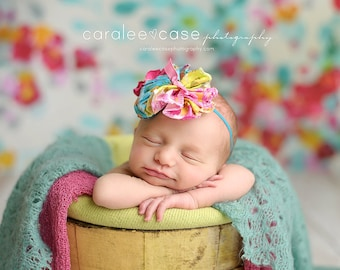 Get it Bright-  ruffle and rosette headband in orange, pink and teal