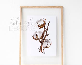 Hand-painted Watercolor Print - Cotton Branches: A Rustic, Farmhouse classic with Modern Watercolor Inspirations