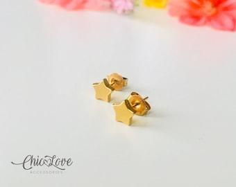 Star Stud Earrings, Stainless Steel Stud Earrings, Gold Star Stud Earrings, Small Gold Star Stud Earrings