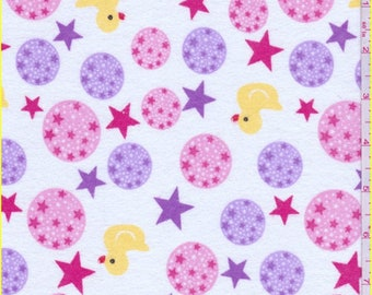 White Star/Ducky Print Flannel, Fabric By The Yard