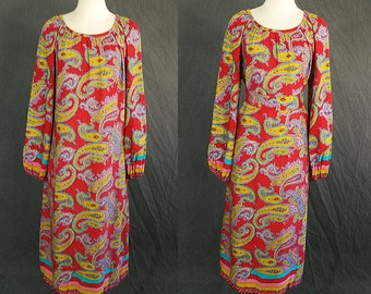 vintage 70s Tent Dress - 1970s Psychedelic Paisley Dress Hippie Trapeze Dress Sz M L
