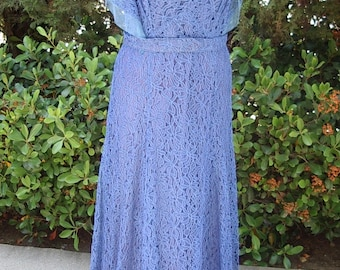 1930's Original Royal Blue Lace MOB Gown / Slip with Jewelry Reduced  Size 12 Item #303 Wedding Apparel