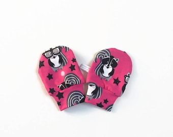 Pink baby mittens, baby scratch mitts. Jersey cotton knit with raccoons. Baby Gift Girl Hand Covers. Hot pink cotton