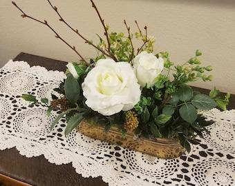 Vintage Shabby Chic Cottage Brass 2018 Trend Home Decor Planter - Faux Flower Roses Greenery Arrangement - Entry Table, Bookshelf, Wedding