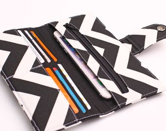 Women's Long Wallet, Travel Organizer, Large Clutch Wallet, iPhone Wallet, Women's Credit Card Wallet - black and white chevron