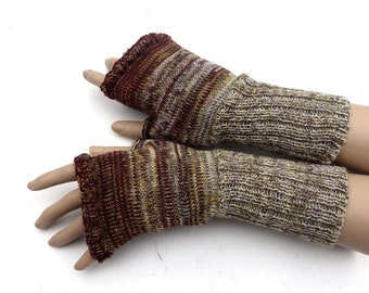 fingerless gloves, knit gray brown fingerless mittens, knitting wool arm warmers, colorful hand warmers, knitted gauntlets, winter gloves