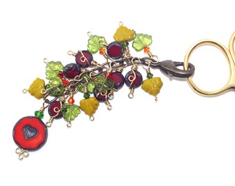 Heart Scissor Fob, Planner Clip On Charm, Bag Charm, Notebook Accessory, Rustic Key Chain Charm, Quilting Accessory, Crochet Circle Gift