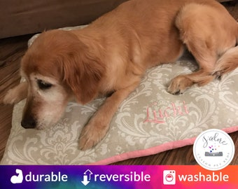 Personalized Beige & Pink Pillow Dog Bed - Dog Bed or Cat Bed | Flippable, Washable, Beautiful, Baby Pink, Girly | Washable