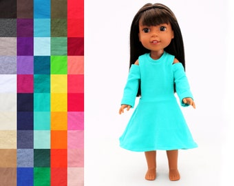 Fits like Wellie Wishers Doll Clothes - The Cassie Cold Shoulder Dress, You Choose Color and Sleeve Length   14.5 Inch Doll Clothes