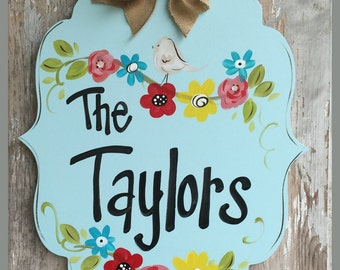 Welcome Sign, Door Art, Door Decor, Hand-Painted, Wreath, Wedding Gift, Personalized, Mother's Day Gift, Springtime