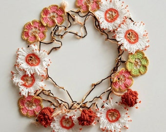 Flower crochet necklace, Beaded Lariat Jewellery, Oya necklace, Brown oya crochet, Daisy necklace