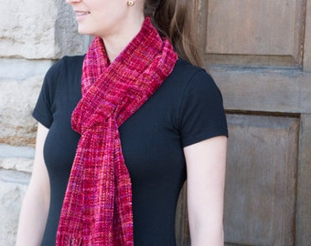 Crimson Night - Red Woven Scarf