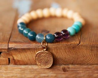 Blue beaded Bracelet, Coin pendant bracelet, Elastic Bracelet, Light Blue bracelet, Sea Blue Bracelet, Stretch bracelet, Simple bracelet