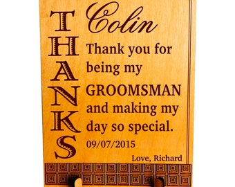 Personalized Groomsman Gift - Gifts for Groomsmen - Wedding Thank You Gift for Best Man from Groom - Plaque, PWP003
