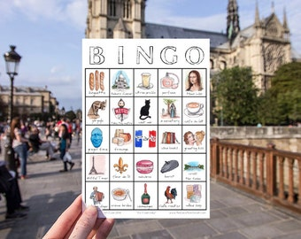 Paris, France Travel Bingo - Printable Travel Game, Digital Download Game Card, Travel Gift, City Explore