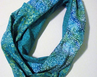 Turquoise Green Batik Print Infinity Scarf Loop Scarf Circle Scarf