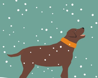 chocolate lab in snow 8 x 10 print in 11 x 14 inch mat great gift under 25