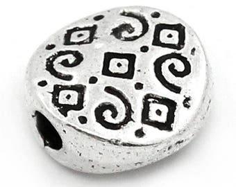 "Set of 10 beads flat ""Arabesque Argyle"" 7mm Tibetan silver RONDELLES"