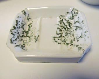 Green Transferware Soap Dish Antique Soap Dishes Green Transfer ware  Transferware Green Warwick China