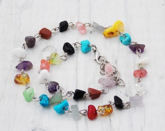 Simple necklace funky jewelry for teens natural stone mixed color necklace fiesta jewelry gift gemstone necklace pride choker lgbt necklace