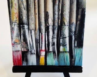My Paintbrushes - 4x4 Mini - Acrylic on Canvas Painting