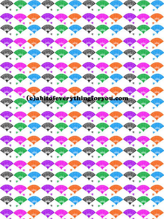 colorful lace fans pattern clipart png jpg printable art downloadable fashion art digital image graphics for DIY crafts wall home decor