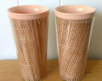 vintage peach raffia straw weave melmac tumblers