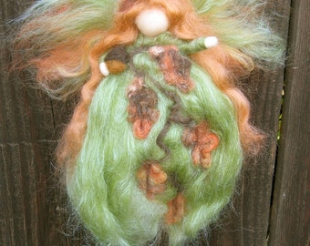 Wool Angel - Oak Leaf Autumn Fairy -  Needle felted Waldorf inspired by Rebecca Varon
