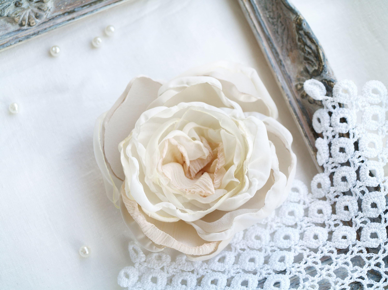 Ivory Flower Clip Silk Flower Brooch Corsage Flower Brooch