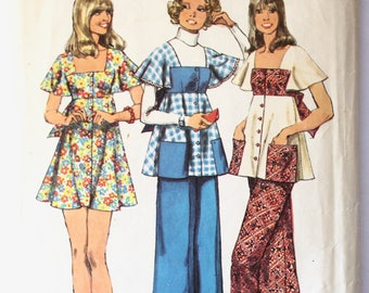 Tunic Sewing Pattern- Vintage 1970s Women's Flutter Sleeve Top/Smock Blouse and Pants Sewing Pattern Junior Size 11 Simplicity 5691