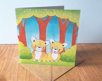Corgi Puppies Greeting Card - Birthday, Easter, Mother's Day, Wedding, Engagement, Love, Anniversary, Good Luck, Corgis Rabbit, Bunny