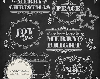 Professional Christmas Messages Clipart & Vector Set - Christmas Photo Overlays, Christmas Chalkboard Clipart, Christmas Vectors, Overlays