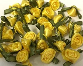 20, yellow ribbon roses, satin ribbon roses, yellow satin roses, sew on flowers, small ribbon roses, yellow ribbon flowers, flower appliques
