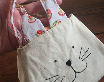 Kitty Cat Bag, printed cotton lining, custom bag, freemotion sewn, purse, kitty cat tote, gift bag, animal bag, animal gift bag